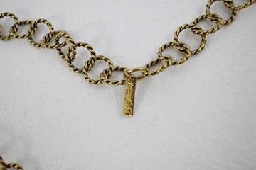 Yves Saint Laurent Twisted Link and Disc Antiqued Gold Tone Necklace