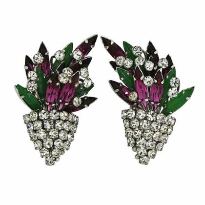 Christian Dior 1960s Pink and Green Rhinestone Vintage Earrings