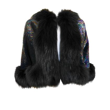 Christian Dior 1970s Fox Fur Iridescent Sequin Evening Jacket