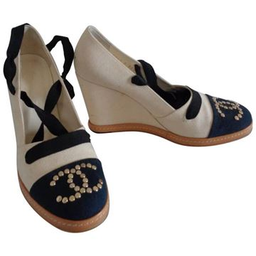 Chanel 1980s CC Logo Cream and Blue High Heel Wedges