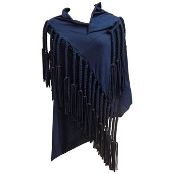 Junya Watanabe Comme des Garcons 1990s Heavy Fringe Blue Top