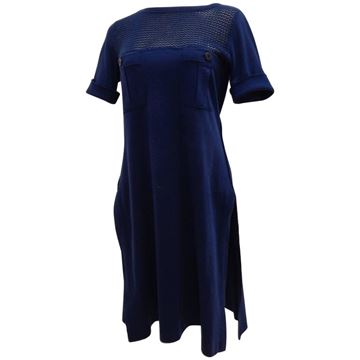 Sonia Rykiel 1980s Cotton Jersey Short Sleeve Blue Midi Dress