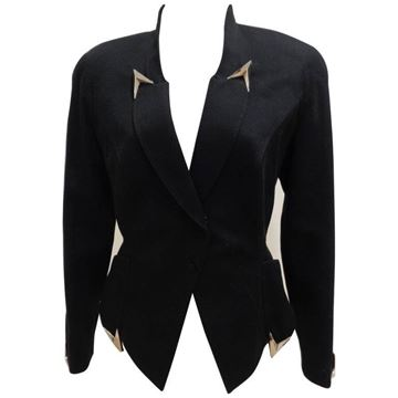 Thierry Mugler 1980s Arrow Tipped Black Jacket
