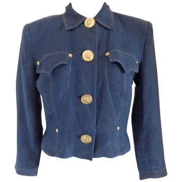 Versus by Gianni Versace 1980s Blue Denim Jacket