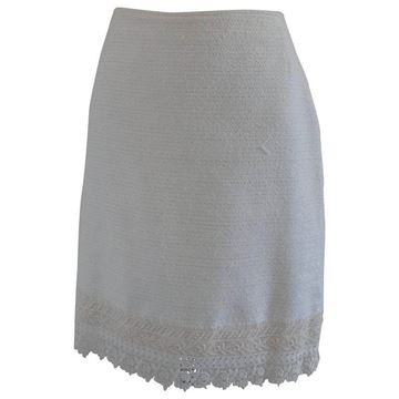 Genny by Gianni Versace 1980s Lace Edged White Cotton Skirt