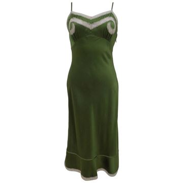 Red Valentino Bias Cut Green Negligee Dress