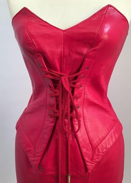 Michael Hoban North Beach 1980s Leather Bright Red Lace Up Mini Dress