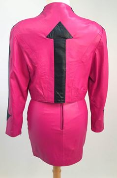Michael Hoban 1980s Leather Hot Pink Jacket and Mini Skirt Suit