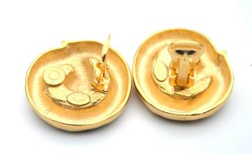 Kenneth Jay Lane 1980s Gold Tone Round Swirl Vintage Earrings