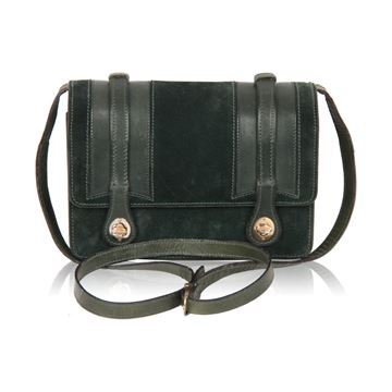 Gucci Vintage Green Suede and Leather Crossbody Bag