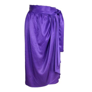 Lanvin 1970s Purple Silk Satin Ruffle Skirt