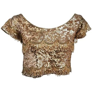 Vintage 1950s Gold Beaded Cropped Top