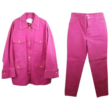 Chanel Iconic 1991 Collection Pink Denim Trouser Suit