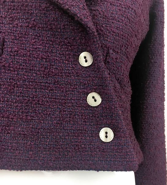 Chanel 2001 Deep Purple Boucle Cropped Jacket