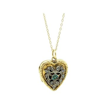 victorian-turquoise-silver-9ct-gold-locket-necklace