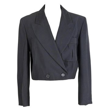 Alberta Ferretti 1990s Double Breasted Cropped Black Jacket