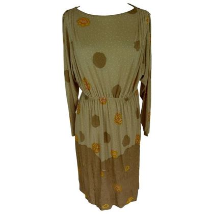 De Parisini 1970s Floral Beige Gathered Midi Dress