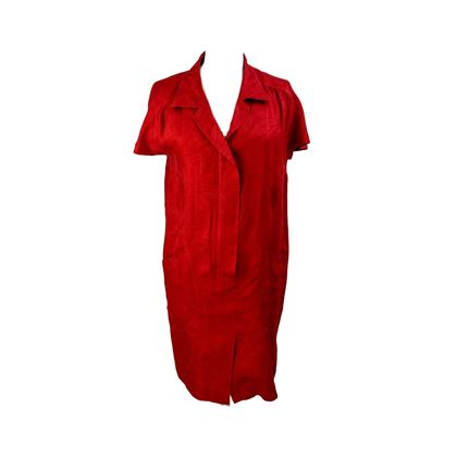Mondrian 1990s Short Sleeve Linen Red Dress
