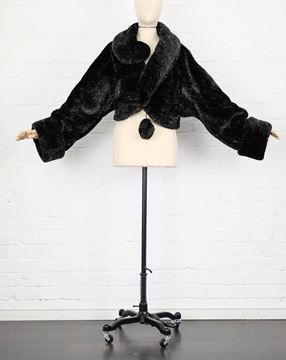 rare-1980s-moschino-black-and-gold-faux-fur-question-mark-short-coat