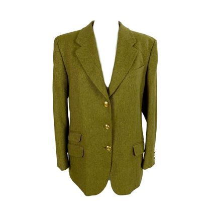 Burberry 1980s Herringbone Beige and Green Wool Blazer