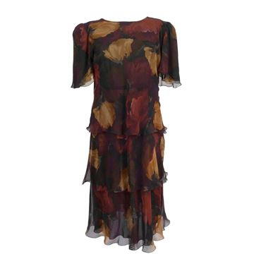 Franca Mossini 1980s Floral Layered Brown Silk Dress