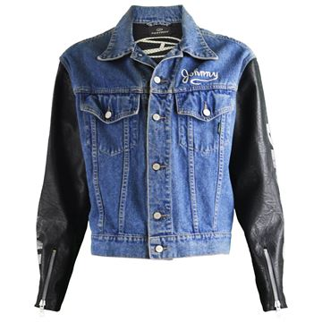 John Richmond Destroy 1990s Faux Leather Sleeves Denim Jacket