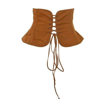 Yves Saint Laurent 1970s Wide Peasant Brown Corset Belt