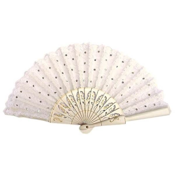Vintage 1950s White Lace Fan with Silvery Sequins