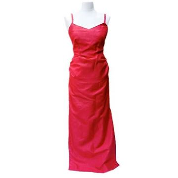 Vintage 1980s Red Moire Sash Bow Long Dress
