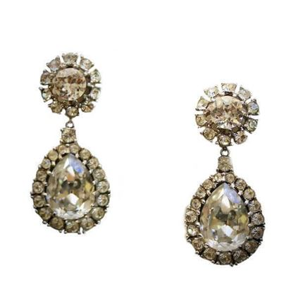 Ciner 1950s Diamante Metallic Vintage Earrings