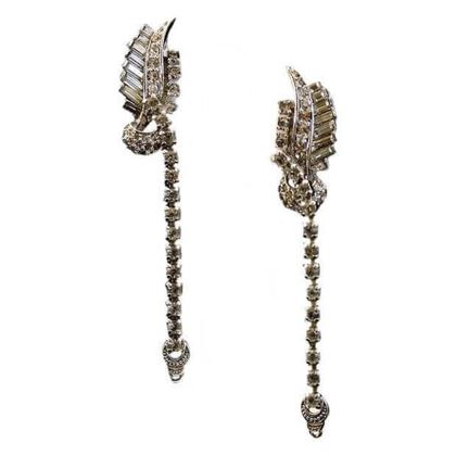 Pennino Brothers 1950s Diamante Metallic Vintage Earrings