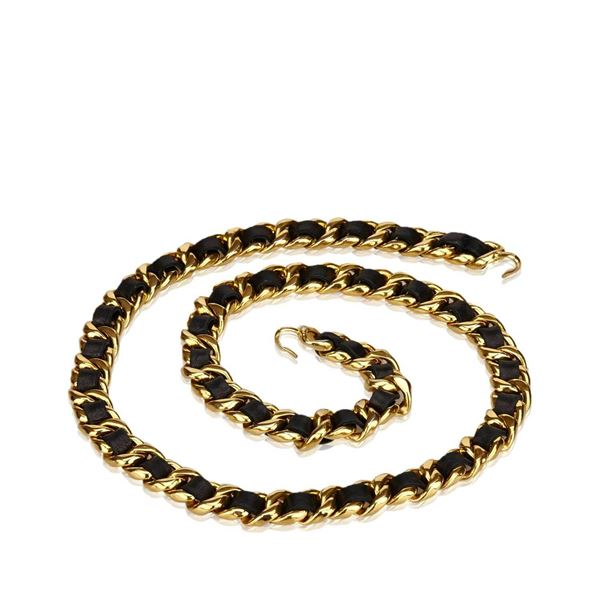 chanel-black-leather-medallion-chain-belt