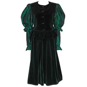 Yves Saint Laurent 1970s Green Velvet Evening 3 Piece Set