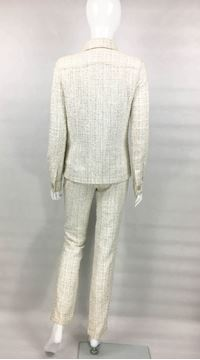 Chanel Runway Off White Boucle Trouser Suit