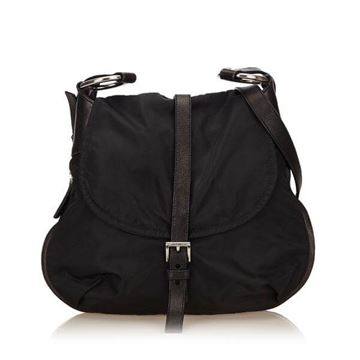 Prada Nylon Saddle Bag Style Black Shoulder Bag