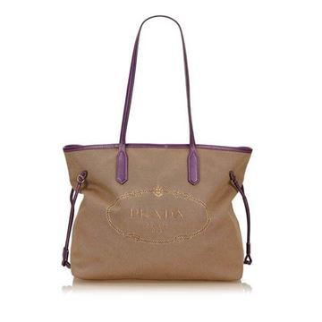 Prada Canvas Purple Trim Tote Bag