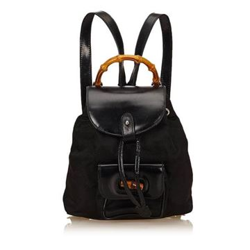 Gucci Black Nylon Bamboo Backpack
