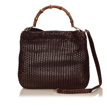 Gucci Bamboo Woven Leather Brown Tote Bag