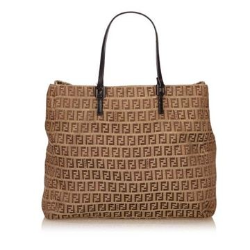 Fendi Zucchino Jacquard Brown Tote Bag