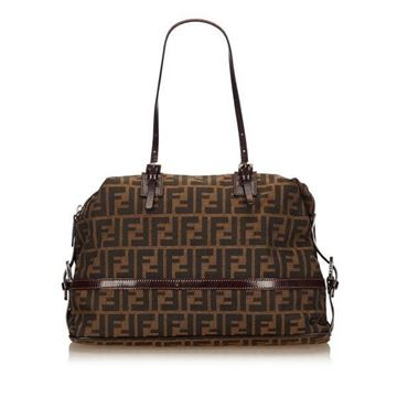 Fendi Zucca Jacquard Brown Shoulder Bag