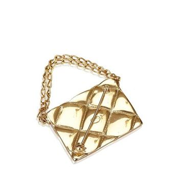 Chanel Quilted 2.55 Bag Shaped Gold Tone Brooch