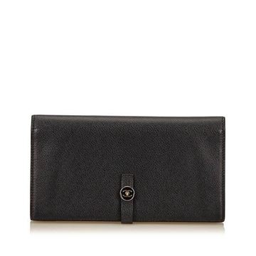 Chanel Long Black Leather Wallet