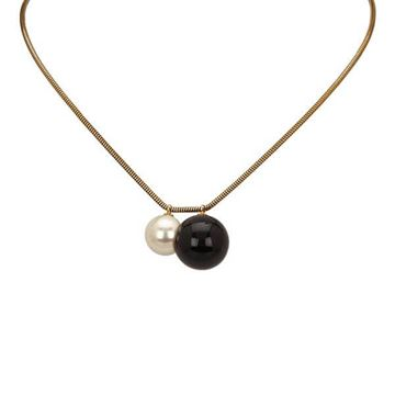 Chanel Black and White Ball Charm Pendant Necklace