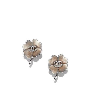 Chanel CC Camelia Pale Brown Clip On Earrings