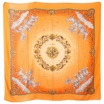 Hermes 1990s Large Orange Cosmos Cashmere Silk Shawl
