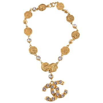 Chanel 1990s Gold Tone and Crystal Logo Necklace