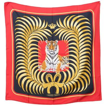 Hermès Rare 1980s Tigre Royal Black and Red Silk Scarf