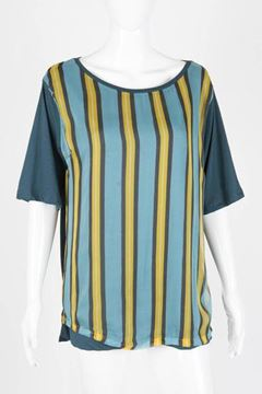 Dries Van Noten Striped Silk and Jersey Blue Top