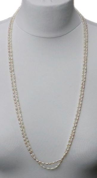 Two Strands of Vintage 1970s Baroque Rice Pearl Necklaces