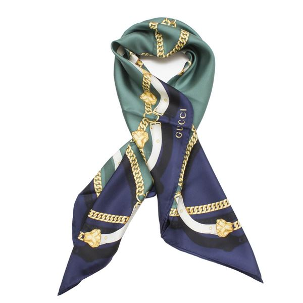 Gucci Blue Silk Chain Print Scarf